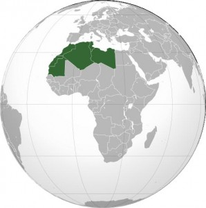 Maghreb: orthographic projection on Wikipedia (CC BY-SA 3.0).